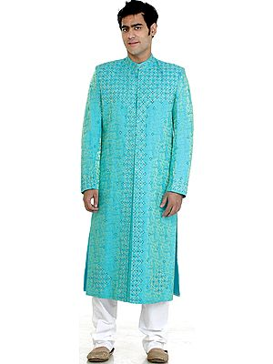 Cyan Wedding Sherwani with All-Over Embroidered Beads