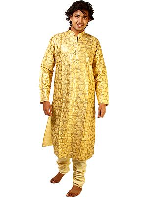 Daffodil-Yellow Designer Kurta Pajama with Densely Embroidered Sequins All-Over