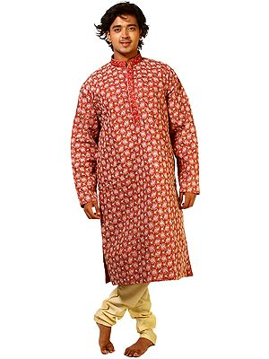 Deep Claret-Red Wedding Kurta Pajama Set with and All-Over Floral Embroidery