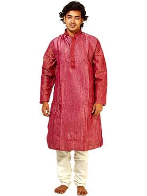 Fuchsia-Purple Kurta Pajama with Embroidery on Button Palette and All-Over Woven Stripes