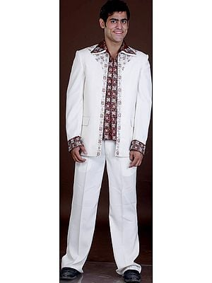 Ivory and Burgundy Jodhpuri Three Piece Suit Hand-Embroidered with Beads