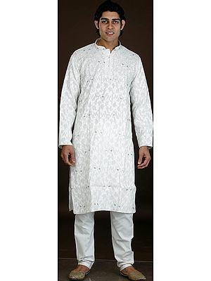 Ivory Kurta Pajama with All-Over Embroidery and Beads