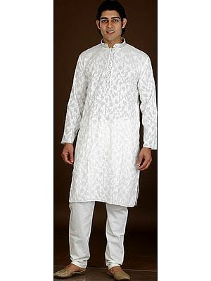 Ivory Kurta Pajama with All-Over Embroidery and Beadwork on Neck