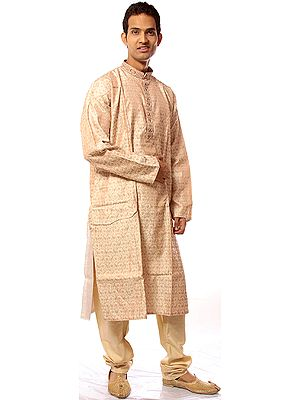 Ivory Kurta Pajama with All-Over Woven Paisleys and Embroidery on Button Palette