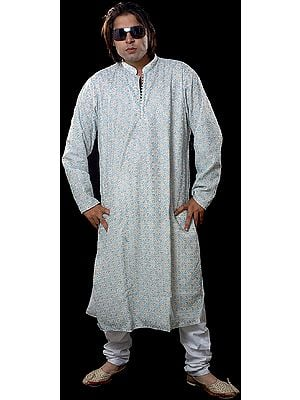 Ivory Kurta with Double Color Embroidery All-Over