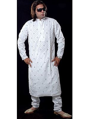 Ivory Kurta with Embroidery and Beadwork All-Over