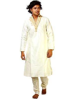 Ivory Wedding Kurta Pajama with Crystal and Faux Pearl Embroidery