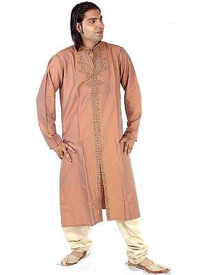 Khaki and Orange Kurta Pajama with All-Over Embroidery