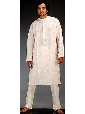 Light Peach Khadi Kurta Pajama Set Printed All-Over