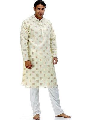 Light Yellow Kurta Pajama with Multi-Color Thread Weave