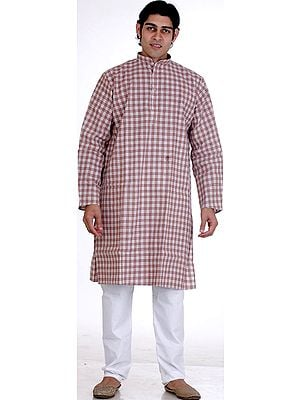 Light-Brown Kurta Pajama with Checks