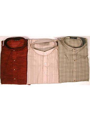Lot of Three Pure Cotton Kurta Pajama Sets