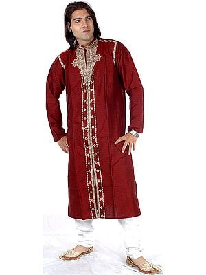 Maroon Achkan with Embroidered Paisleys and Self-Design