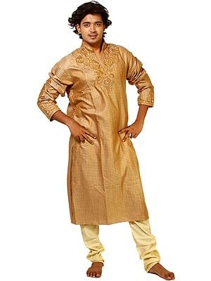 Pale-Brown Kurta Pajama with Crystals Embroidered on Neck and All-Over Weave