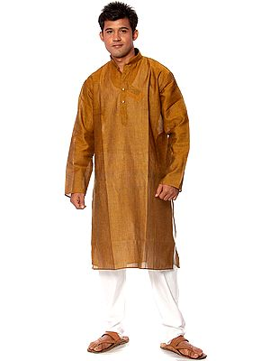 Plain Bistre-Brown Kurta Pajama