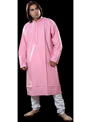 Plain Pink Kurta Set with Embroidery on Button Palette