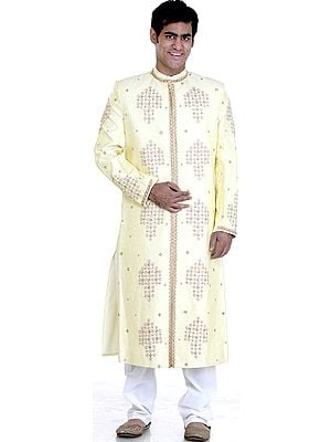 Powder-Yellow Wedding Sherwani with All-Over Embroidery