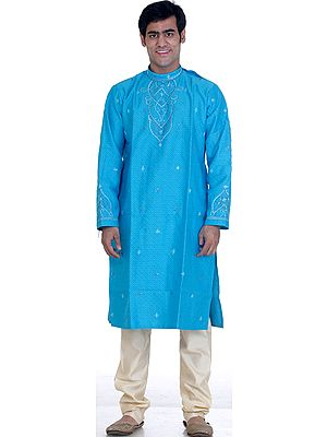 Robin-Egg Blue Bandgala Kurta Set with All-Over Weave and Threadwork