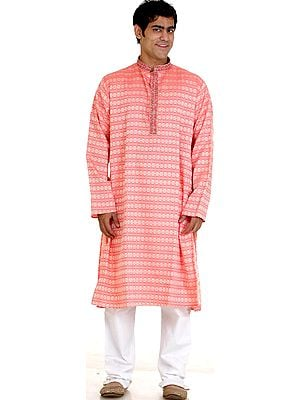 Salmon Brocaded Kurta Set with Golden Thread Weave and Embroidery on Button Palette