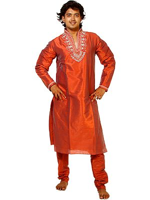 Redwood Designer Kurta Pajama with Crystals and Faux Pearls Embroidered on Neck