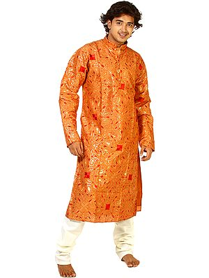 Hazel-Brown Kurta Pajama with Embroidered Paisleys and Sequins