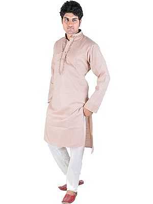 Kurta Pajama with Embroidery on Neck and Dotted Stripes