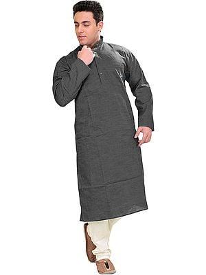 Plain Cotton Kurta with White Pajama Set