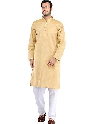 Plain Khadi Kurta with White Pajama Set