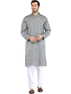 Plain Cotton Kurta with White Pajama Set