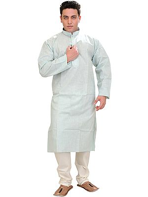Kurta Pajama Set with Embroidery on Neck and Thread Weave