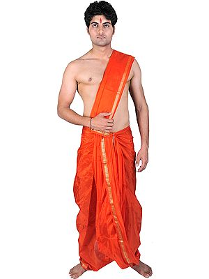 Dhoti and Angavastram Set with Golden Thread Weave on Border