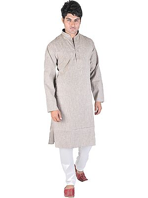 Pure Cotton Kurta Pajama with Embroidery on Neck and Thread Weave
