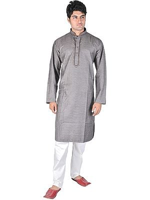 Kurta Pajama with Embroidery on Neck and Dotted Stripes All-Over