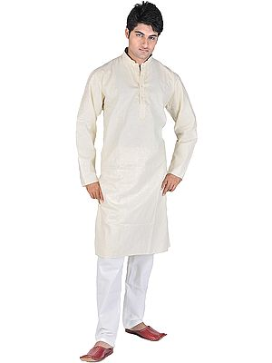 Kurta Pajama with Embroidery on Neck and Glittering Thread Weave