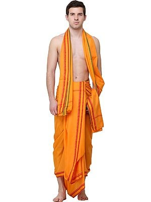 Plain Dhoti and Angavastram Set with Golden Thread Weave on Border