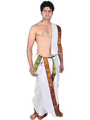 Dhoti and Angavastram Set with Golden Thread Weave