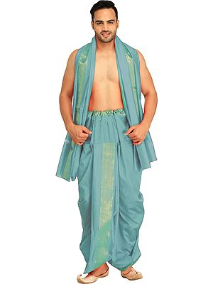 Dhoti and Angavastram Set with Wide Golden Border (Ready to Wear)
