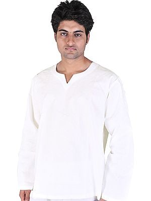 Plain White V-Neck Short Kurta Top