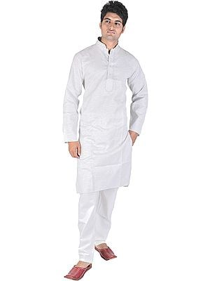 Pure Cotton Kurta Pajama with Embroidery on Neck and Woven Stripes