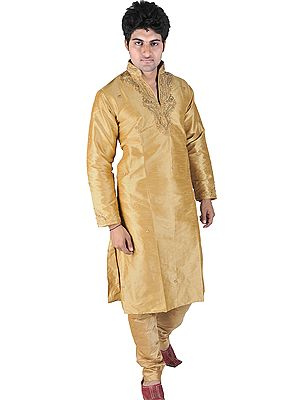 Beige Wedding Kurta Pajama with Crystals and Beads Embroidered on Neck
