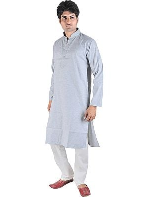 Kurta Pajama with Woven Stripes and Embroidery on Neck