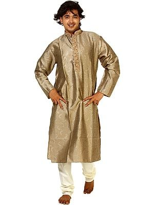 Plaza-Taupe Kurta Pajama with Embroidery on Neck and Woven Paisleys