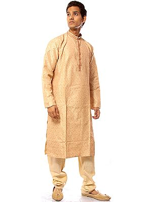 Beige Designer Kurta Pajama with Woven Paisleys and Hand Embroidery on Neck