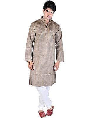 Brownie Kurta Pajama with Wide Woven Stripes and Embroidery on Neck