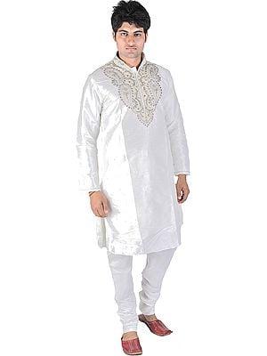 White Wedding Kurta Pajama with Zardozi and Beads Embroidered on Neck