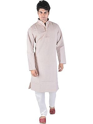 Coral-Pink Kurta Pajama with Fine Woven Stripes and Embroidery on Neck