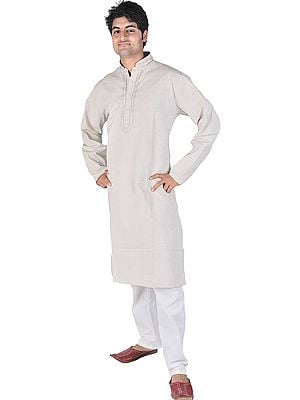 Feather-Gray Kurta Pajama with Embroidery on Neck and Woven Stripes All-Over