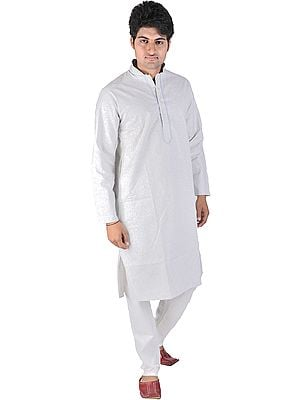 Smoke-Blue Kurta Pajama with Embroidery on Neck and Woven Checks
