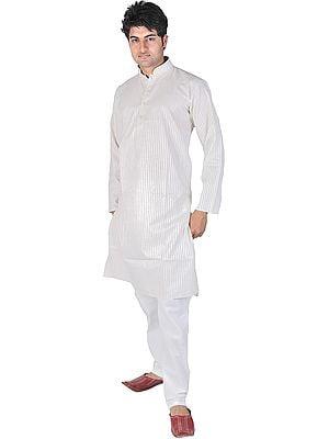 Peyote-Gray Kurta Pajama with Wide Woven Stripes