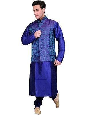 Dazzling-Blue Kurta Pajama Set with Purple-Reign Brocaded Waistcoat